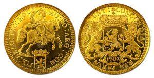 Gouden afslag Dukaton 1703 - Veilinghuis De Ruiter